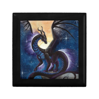 Black Dragon with Night Sky by Carla Morrow Small Square Gift Box
