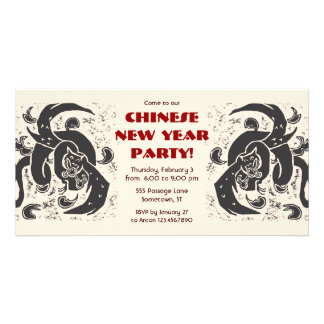 Black Dragons Party Invitations Picture Card