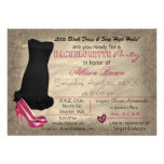 black dress & pink heels bachelorette party invite