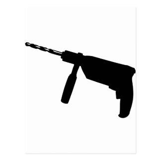 black drill machine icon postcard