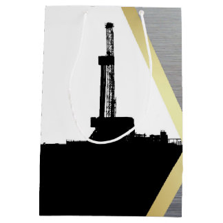 Black Drilling Rig Silhouette with Metal Look Medium Gift Bag