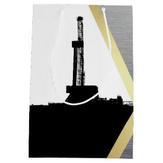 Black Drilling Rig Silhouette with Metal Look Medium Gift Bag