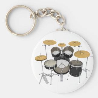 Black Drum Kit: Basic Round Button Key Ring
