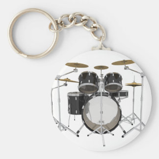 Black Drum Kit: Basic Round Button Key Ring