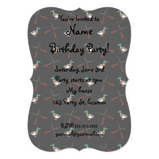 Black duck hunting pattern personalized invites