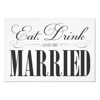 Black Eat, Drink & Be Married | Enclosure 9 Cm X 13 Cm Invitation Card