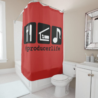 Black Eat Sleep Music Icons Shower Curtain