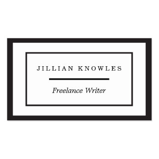 Black Edge Rectangle Nested Freelance Company Pack Of Standard Business Cards