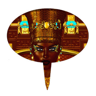 Black Egyptian princess in our modern digital art Cake Toppers
