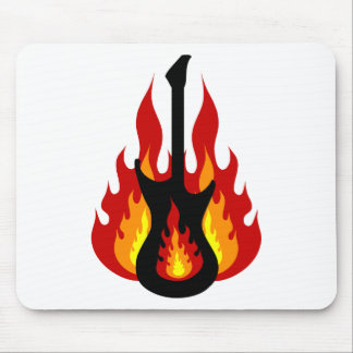 Black Electric Guitar On Fire Mouse Pad