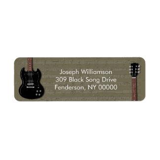 Black Electric Guitar Return Address Labels