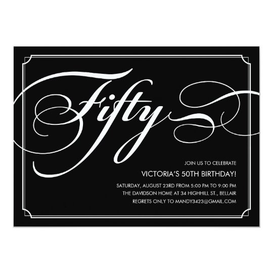 Black Elegant 50th Birthday Invitations