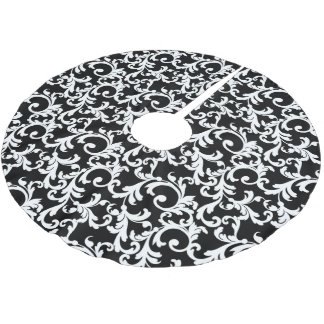 Black Elegant Damask Brushed Polyester Tree Skirt