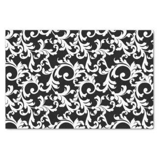 "Black Elegant Damask Print 10"" X 15"" Tissue Paper"
