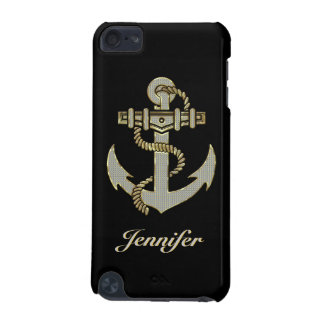 Black, Elegant Diamonds & Gold  Nautical Anchor iPod Touch 5G Covers