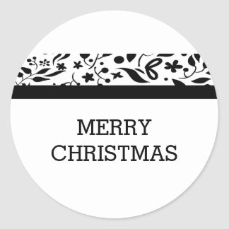 Black Elegant Foliage Holiday Classic Round Sticker