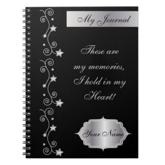 Black Elegant Personalize Journal Notebook