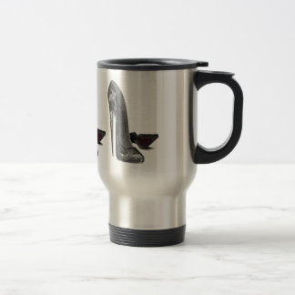 Black Elegant Stiletto Shoe Art Travel Mug