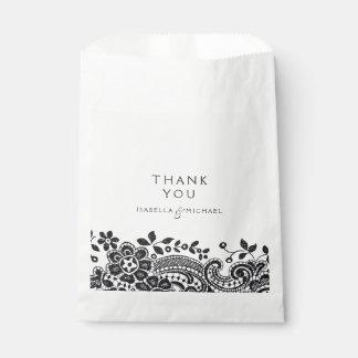 Black elegant vintage lace wedding favor favour bags