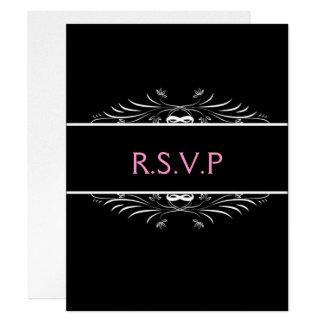 black elegant wedding RSVP 11 Cm X 14 Cm Invitation Card