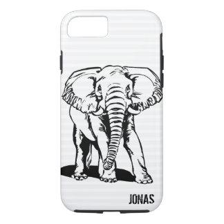 Black Elephant Line Drawing iPhone 8/7 Case