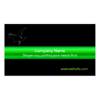 Black Embossed-look Raven on green metallic-effect Pack Of Standard Business Cards