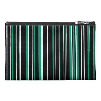 Black, Emerald Green, White Barcode Stripe Travel Accessory Bags