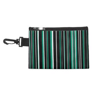Black, Emerald Green, White Barcode Stripe Accessories Bags