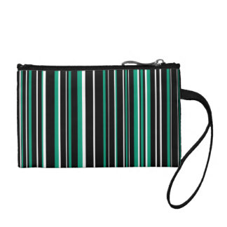 Black, Emerald Green, White Barcode Stripe Change Purse