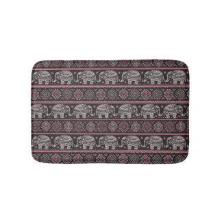 Black Ethnic Elephant Pattern Bath Mat