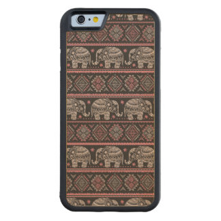 Black Ethnic Elephant Pattern Carved Maple iPhone 6 Bumper Case