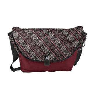 Black Ethnic Elephant Pattern Commuter Bags