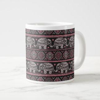 Black Ethnic Elephant Pattern Large Coffee Mug