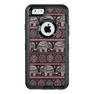 Black Ethnic Elephant Pattern OtterBox Defender iPhone Case