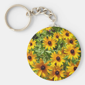 Black-Eyed Susan Basic Round Button Key Ring