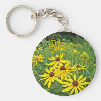 Black Eyed Susan Basic Round Button Key Ring