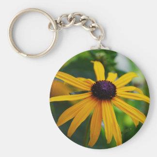 Black Eyed Susan Basic Round Button Key Ring