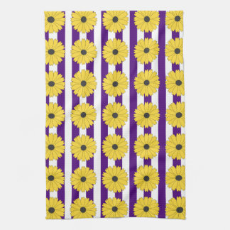 Black Eyed Susan Eggplant Purple Stripe Pattern Tea Towel