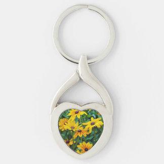 Black eyed susan floral print keychain
