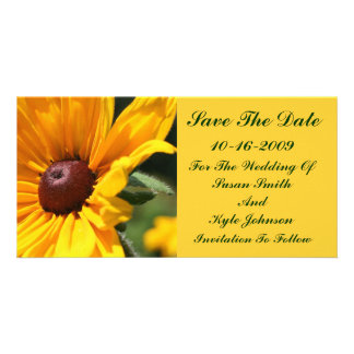 Black Eyed Susan Floral Wedding Save The Date Customized Photo Card