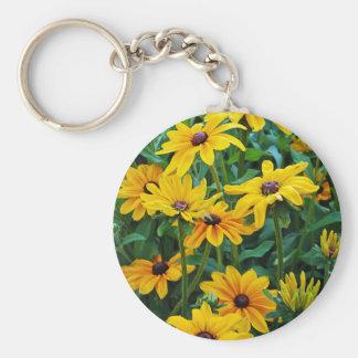 Black eyed susan flower garden keychain