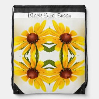 Black-Eyed Susan Kaleidoscope Pattern Drawstring Bags