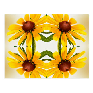 Black-Eyed Susan Kaleidoscope Pattern Postcard