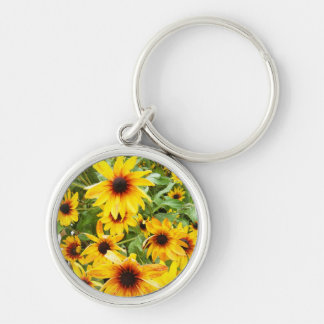 Black Eyed Susan Silver-Colored Round Key Ring