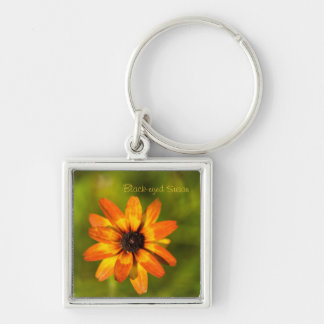Black Eyed Susan Silver-Colored Square Key Ring