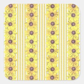 Black Eyed Susan Stripes Square Sticker