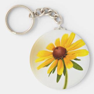 Black-Eyed Susan Summer Blossom Basic Round Button Key Ring