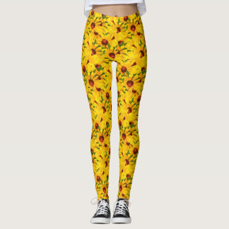 Black-eyed Susan Summer Flower Picture Abstract Leggings