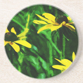 Black Eyed Susan Wildflowers Abstract Coaster