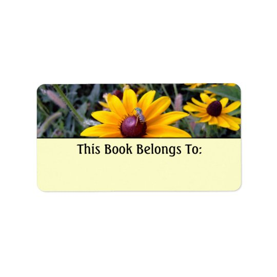 Black-Eyed Susan Yellow Bookplate Label